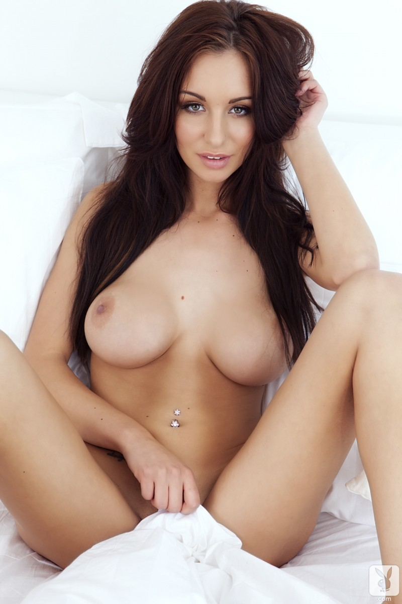 image Rene models by mirror and strips naked in bed