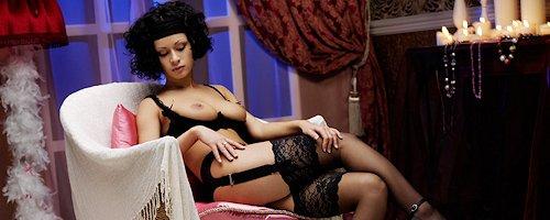 Pammie Lee in black stockings