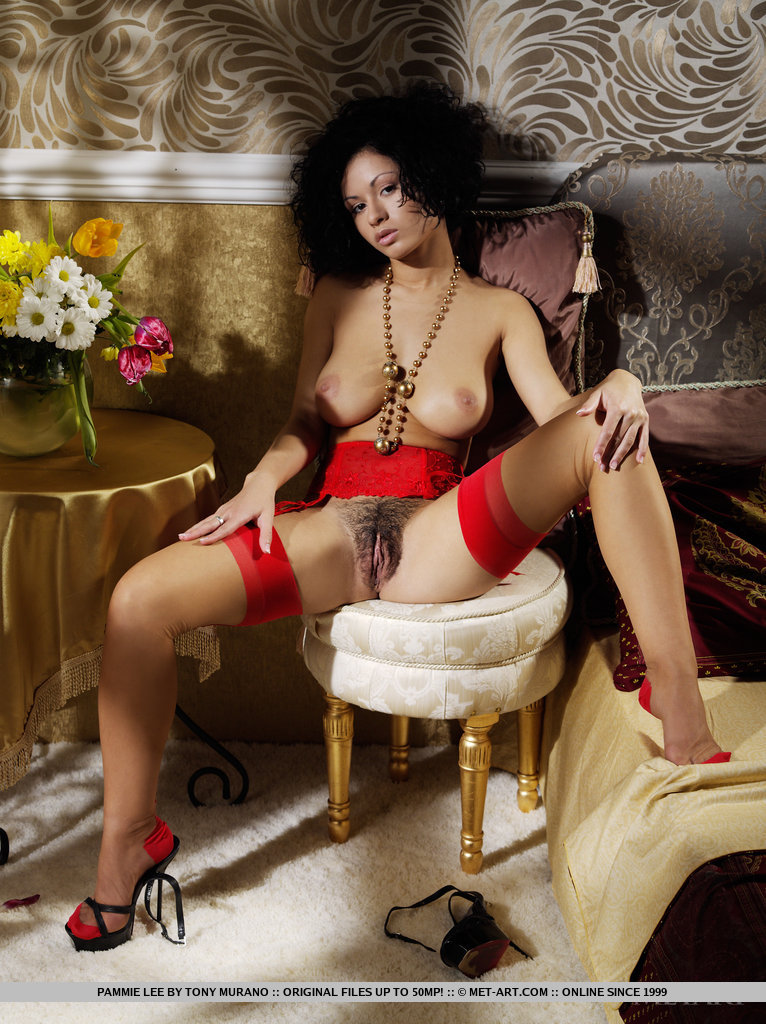 Big natural tits with black stockings and garter