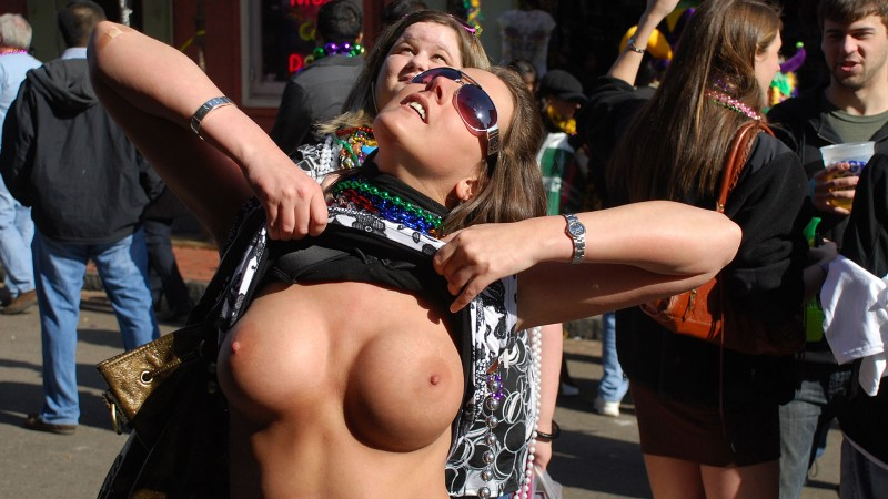 party naked boobs in public