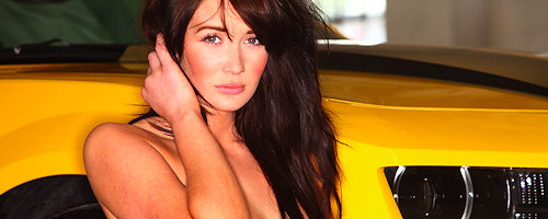 Peta Todd in yellow Camaro