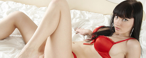 Polina in red lingerie