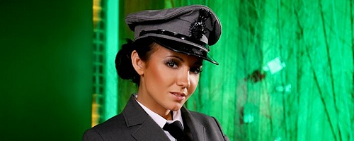 Rachael Boden in uniform and stockings