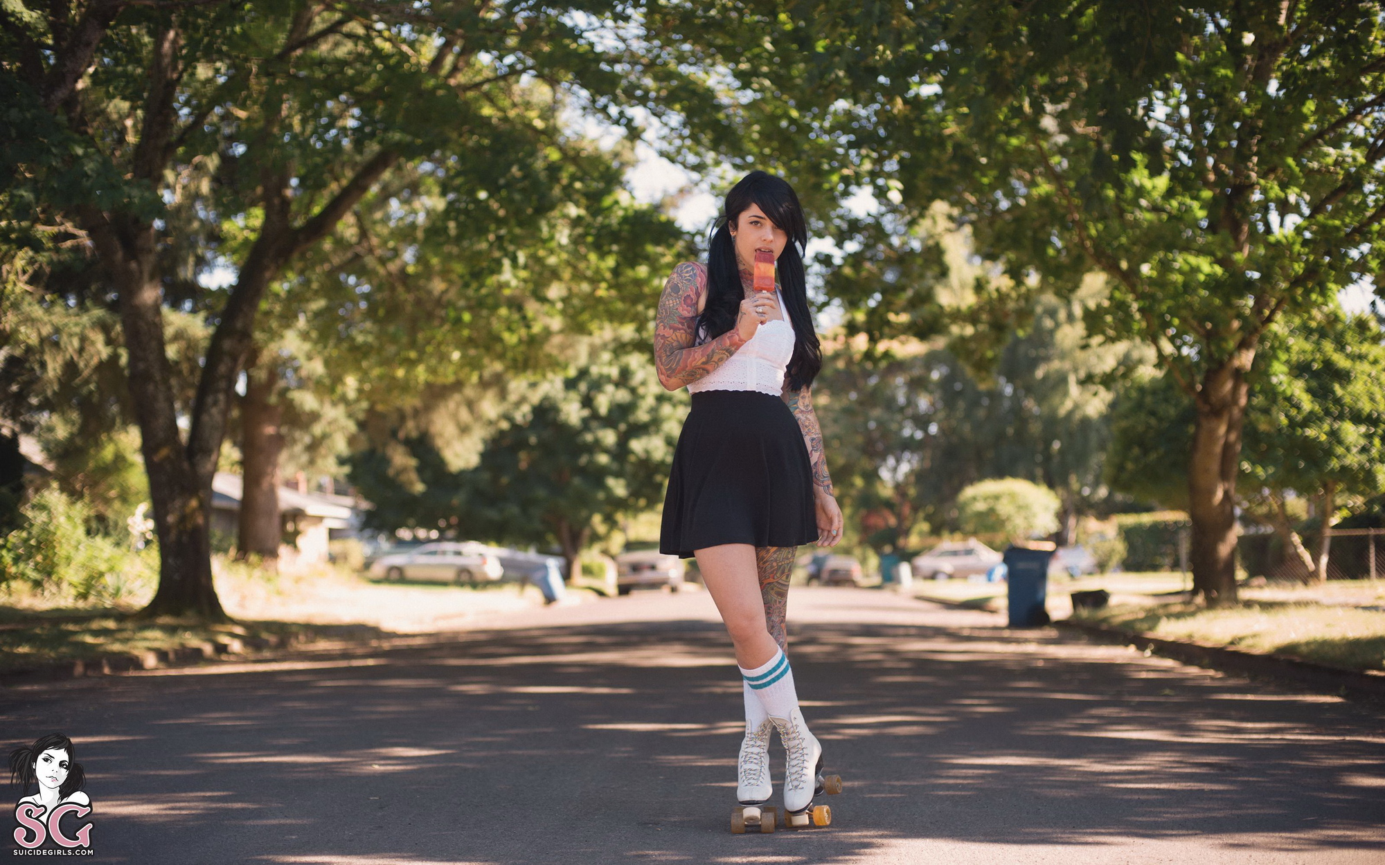 radeo-nude-brunette-roller-skates-tattoo-suicide-girls-01