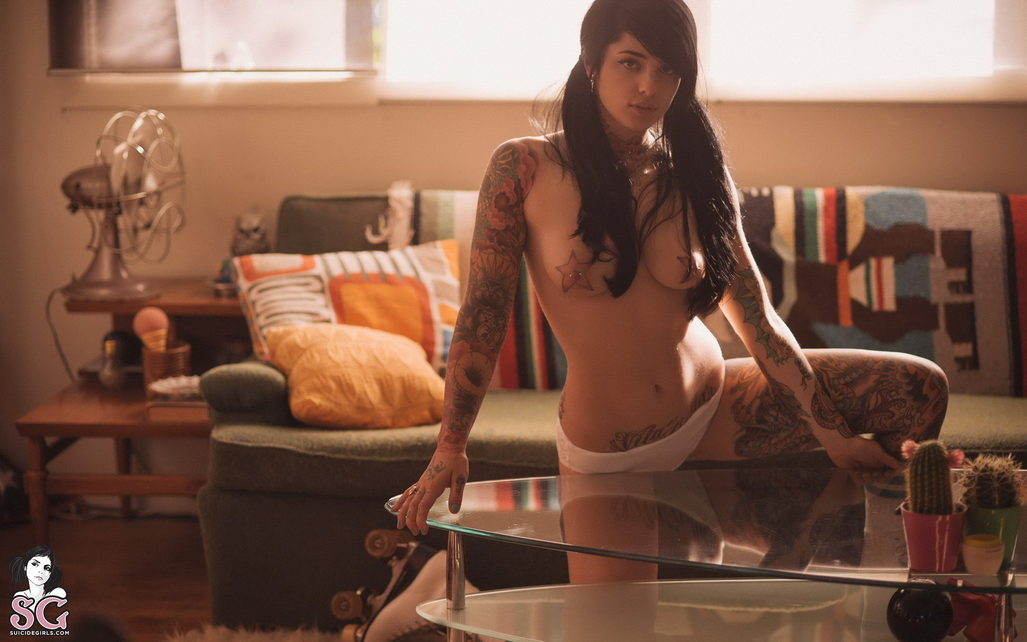 radeo-nude-brunette-roller-skates-tattoo-suicide-girls-13