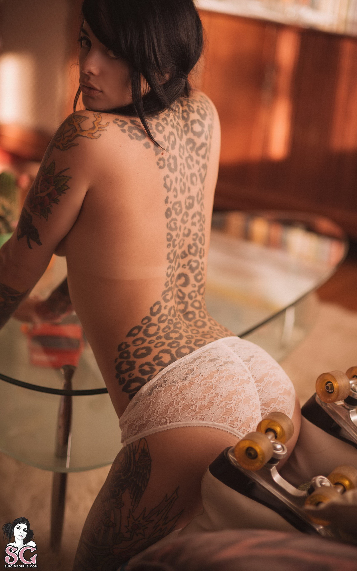 radeo-nude-brunette-roller-skates-tattoo-suicide-girls-14