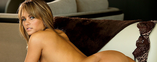 Sarah Pipkin in brown lingerie