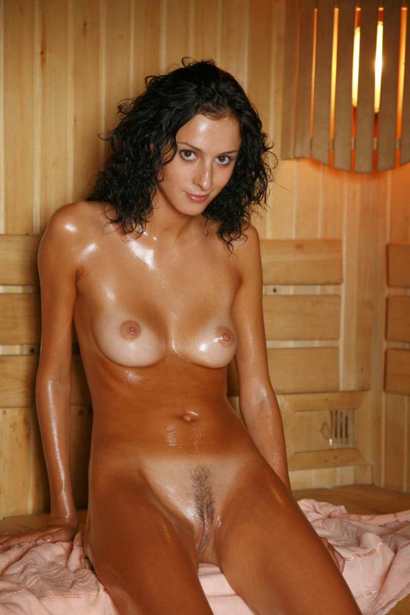 With Nude wife in sauna