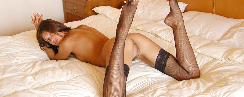 Sharon in fishnet stockings