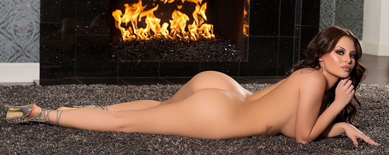 Shelly Lee getting warmer by the fireplace