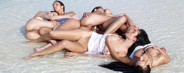Six beautiful women on the beach