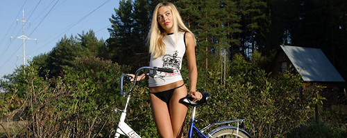 Sweet Lilya on bike