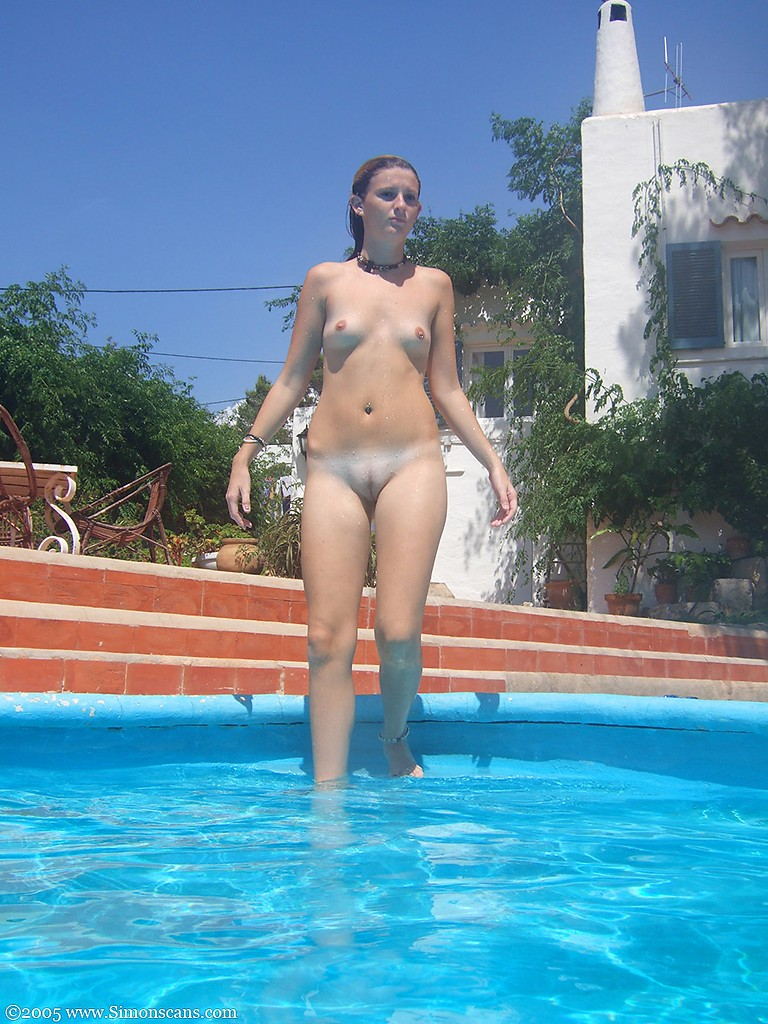 girls naked in a swimming pool