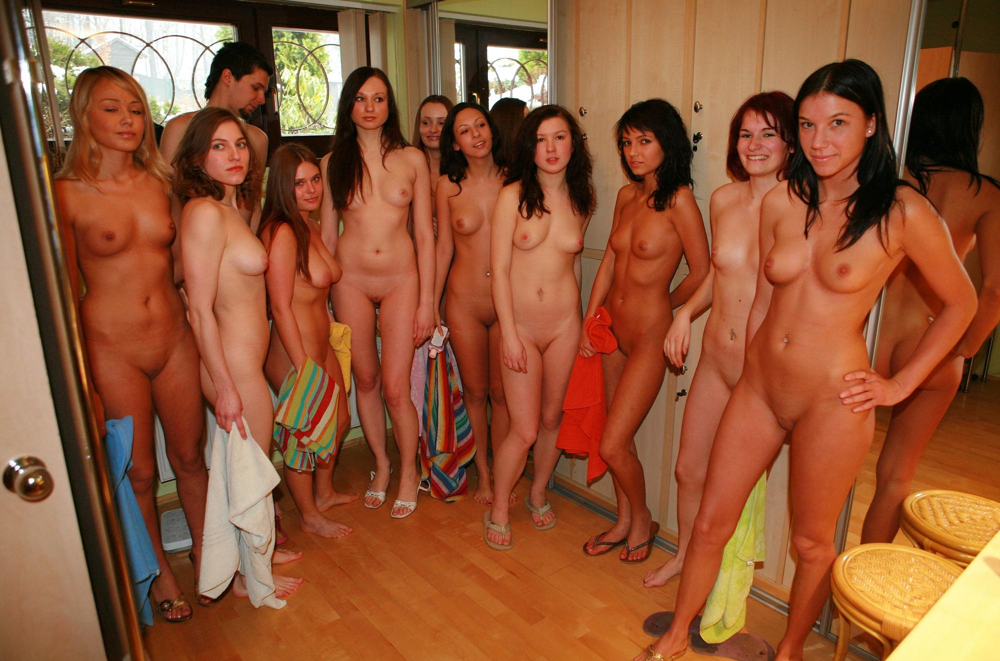 That Naked girls in sauna with