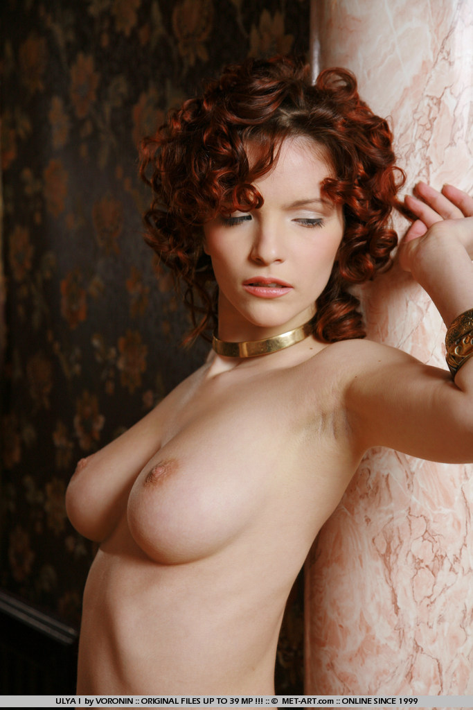 curly girls hair redhead with Nude