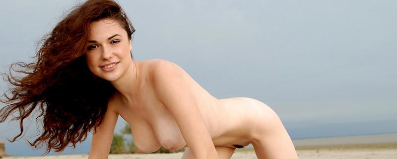 Valda nude on the beach