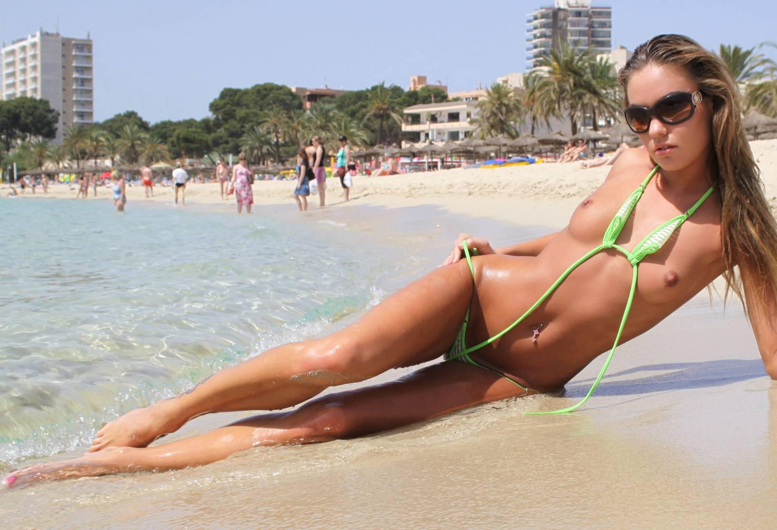 Beach bikini strangers micro topless hidden