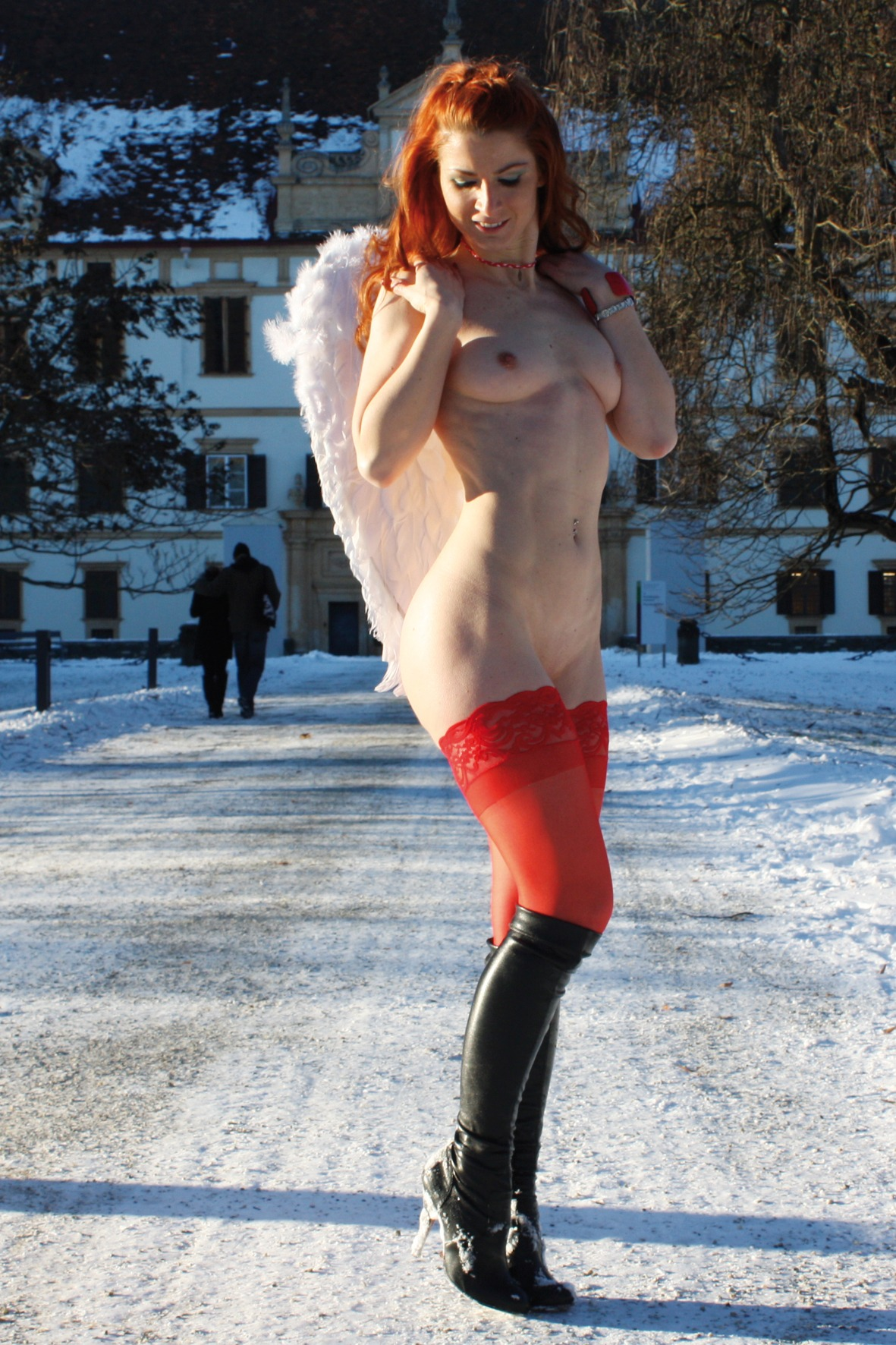 Nude girl public snow
