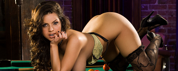 Yurizan Beltran on pool table