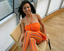 Ewa Sonnet in orange dress