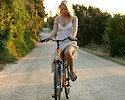 Blond girl on bike