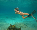 Kelly Madison dives in the sea