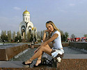 Russian girl walking around the city