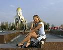 Russian girl walking around the city