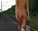 Blonde on railway station