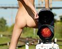 Girl on rail tracks