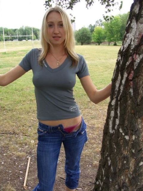 Blond girl taking a walk