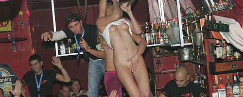 Girls dancing on the bar