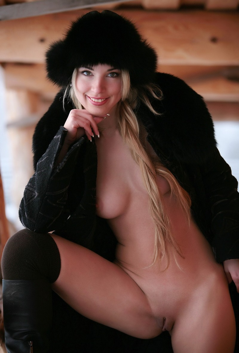 Girl in black fur