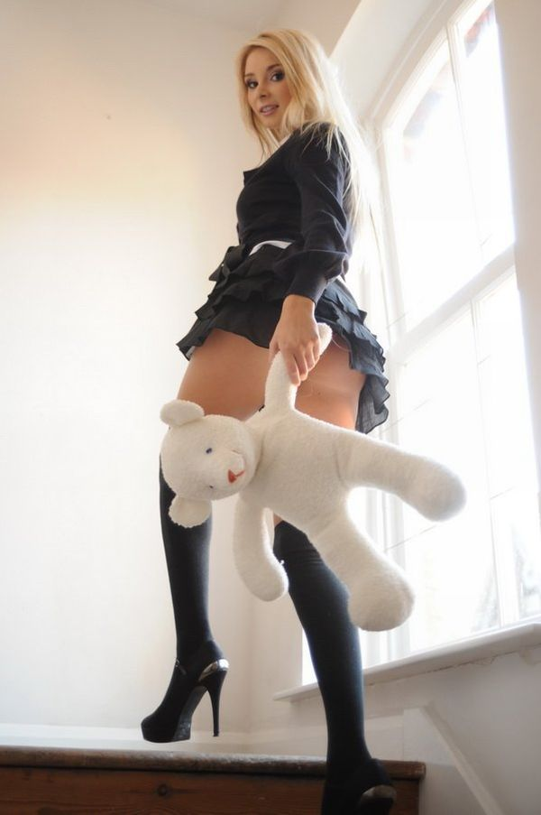 Blond and her teddy bear