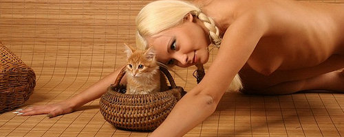 Sexy blond and kitten