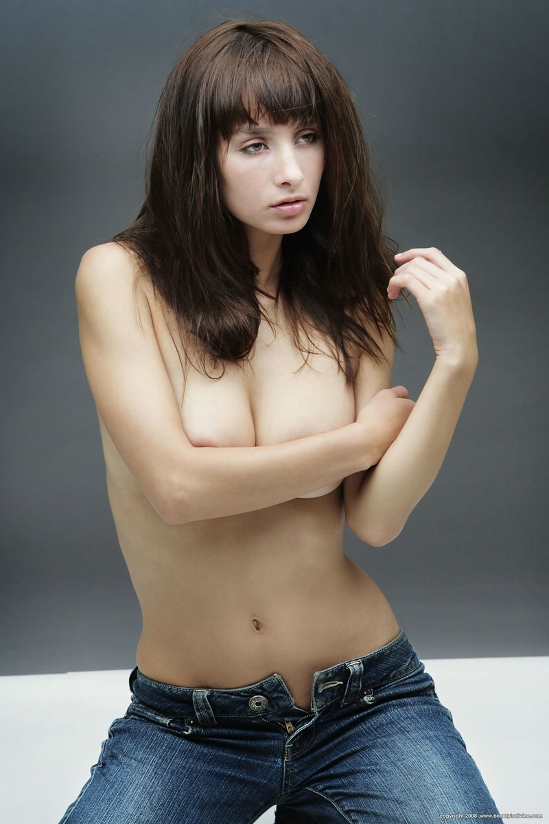 Cute brunette in jeans