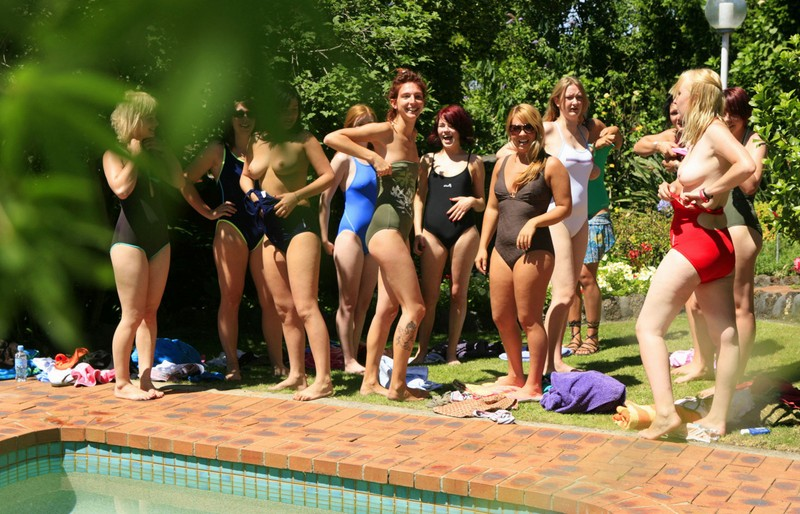 Bunch of girls in the pool