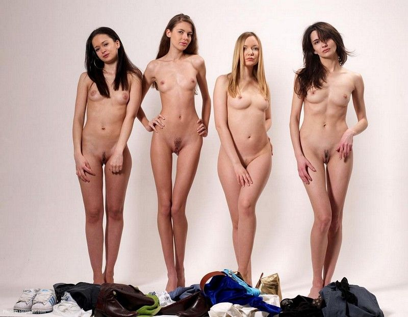 Four girls strip together