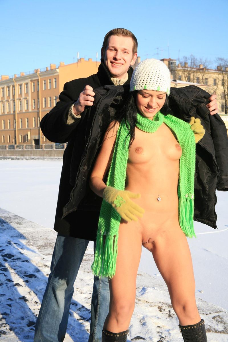 Nude girl on frozen river