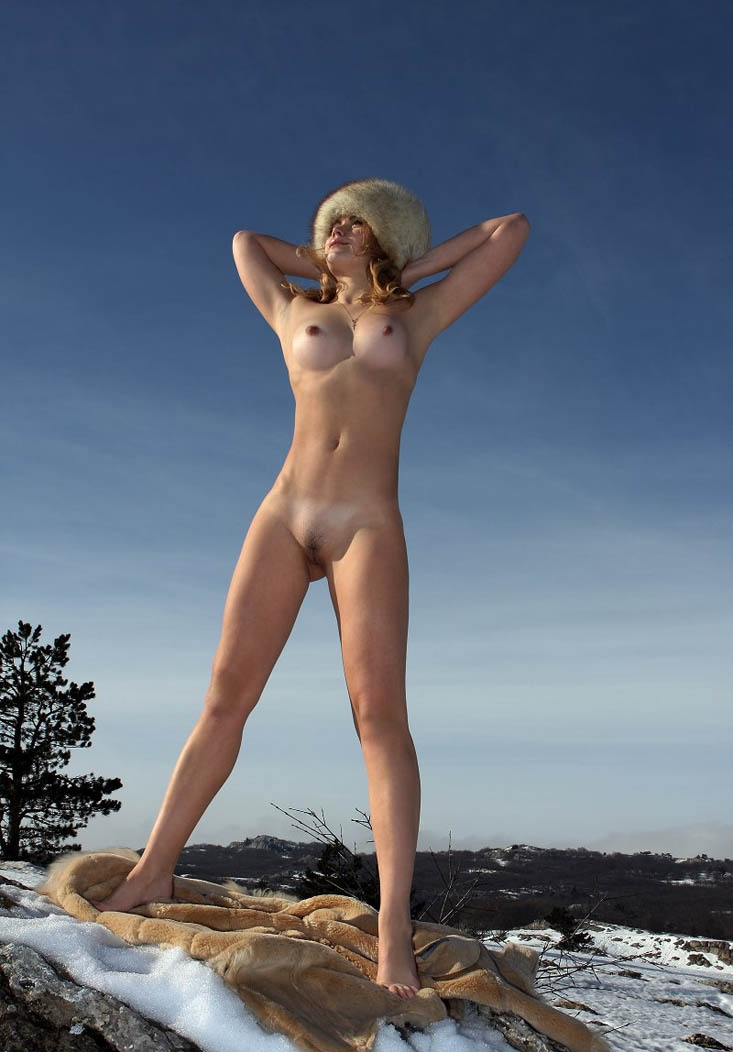 Naked girl in furry hat