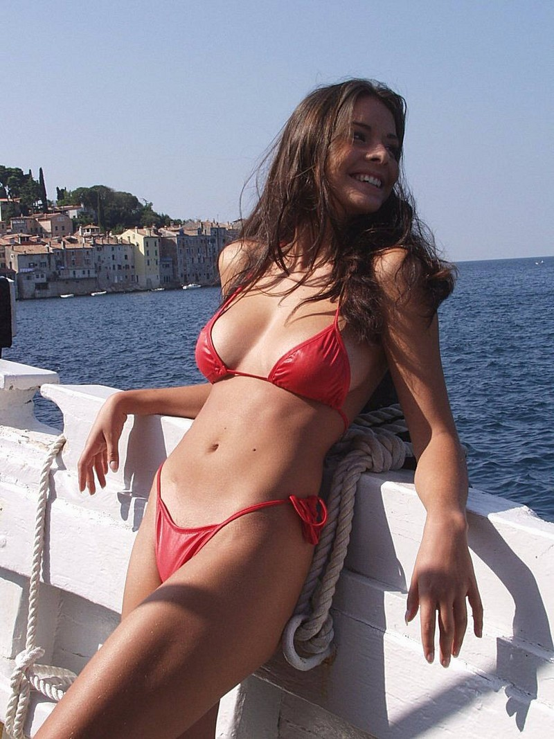 Girl in red bikini