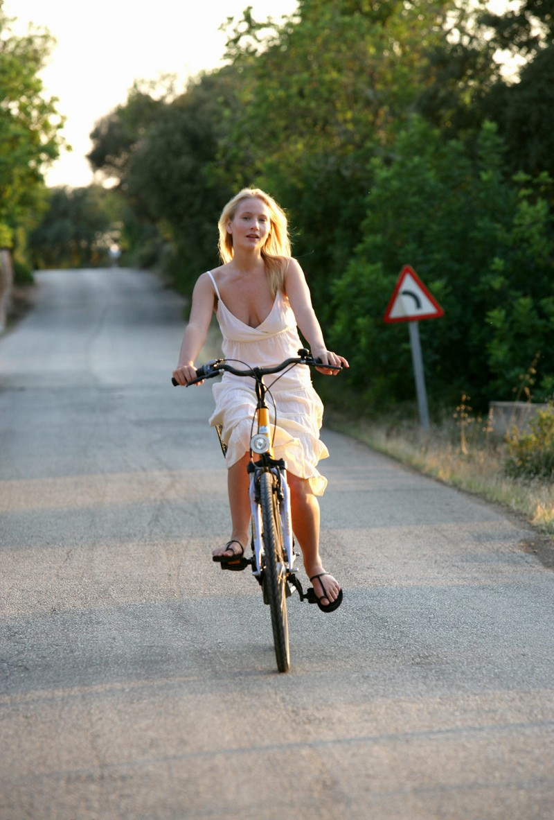 Blond girl on bike