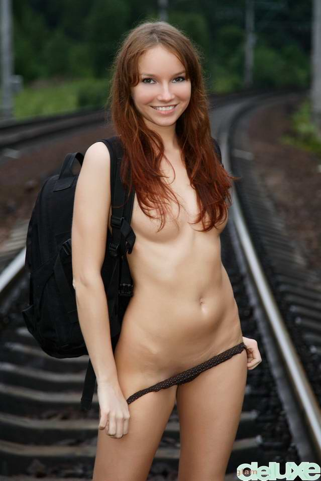 Young girl on tracks
