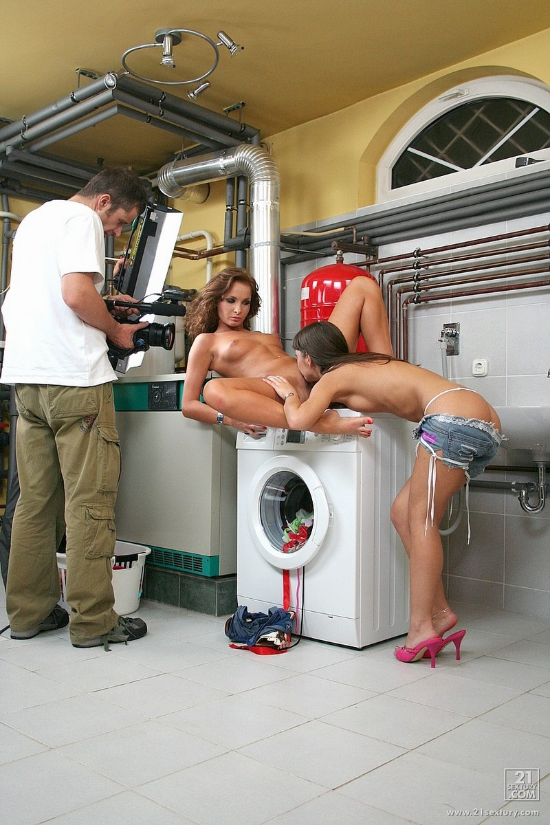Girls doing laundry