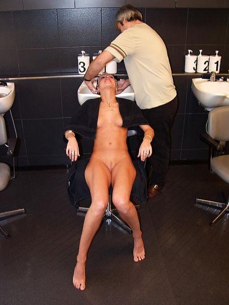 Naked at the hairdresser