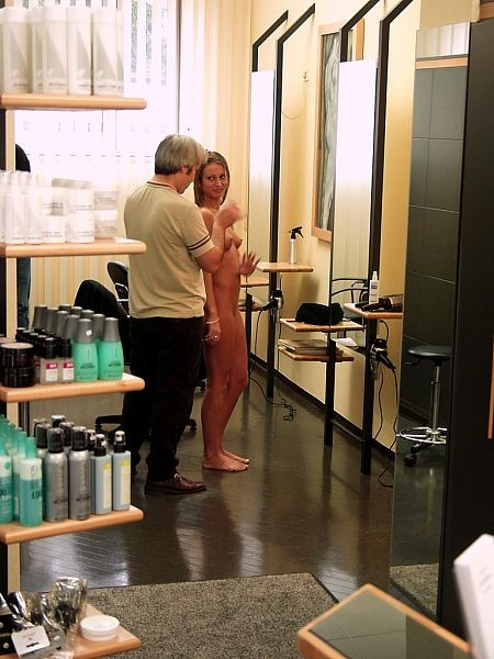 Naked at the hairdresser