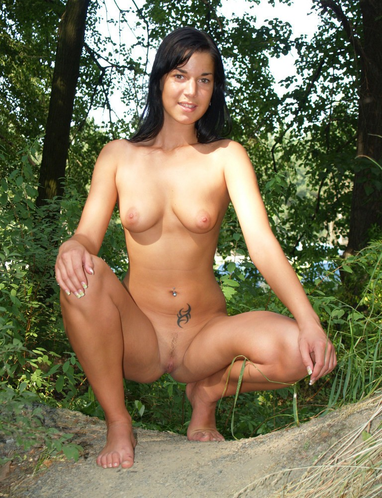 Nude walk in the forest
