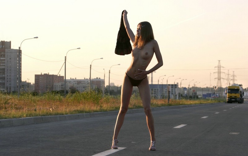 Naked on the road