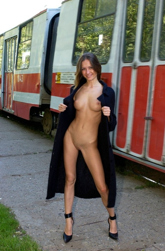 Nude at gas station
