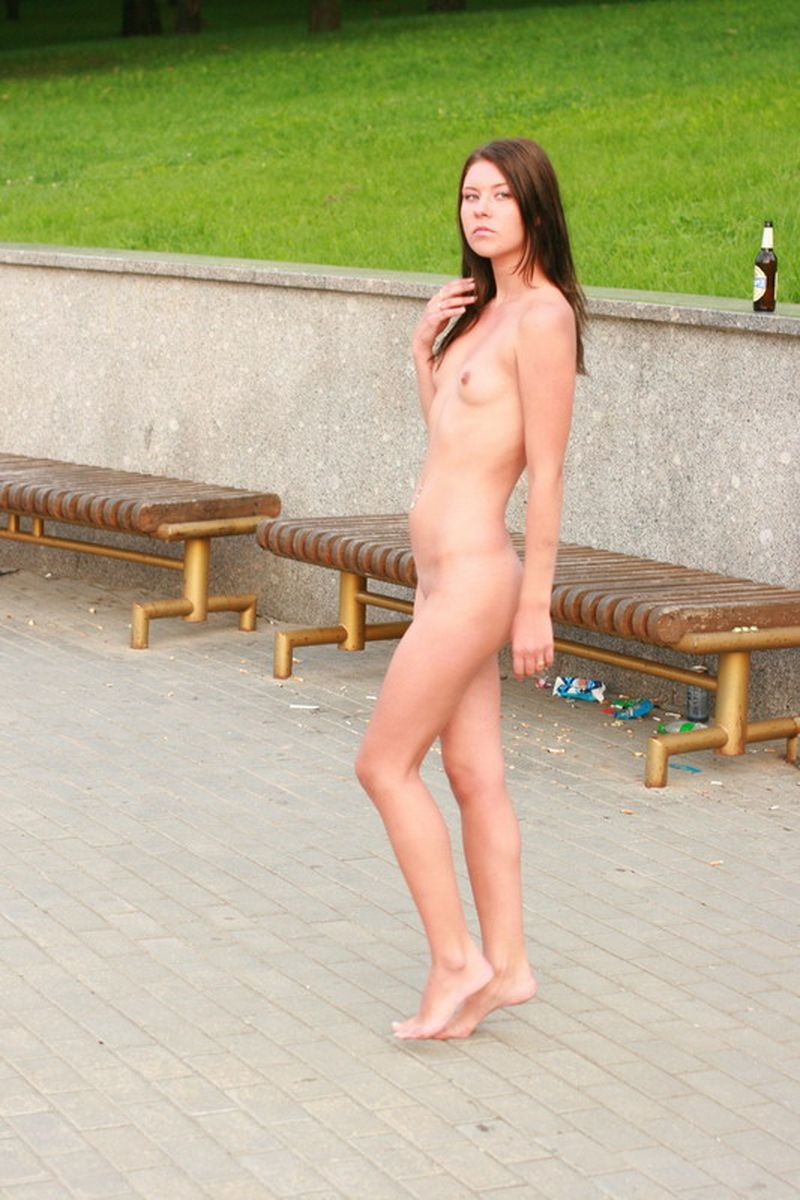 Young girl nude in public